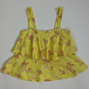 Abound Yellow Tiered Floral Tank XXS